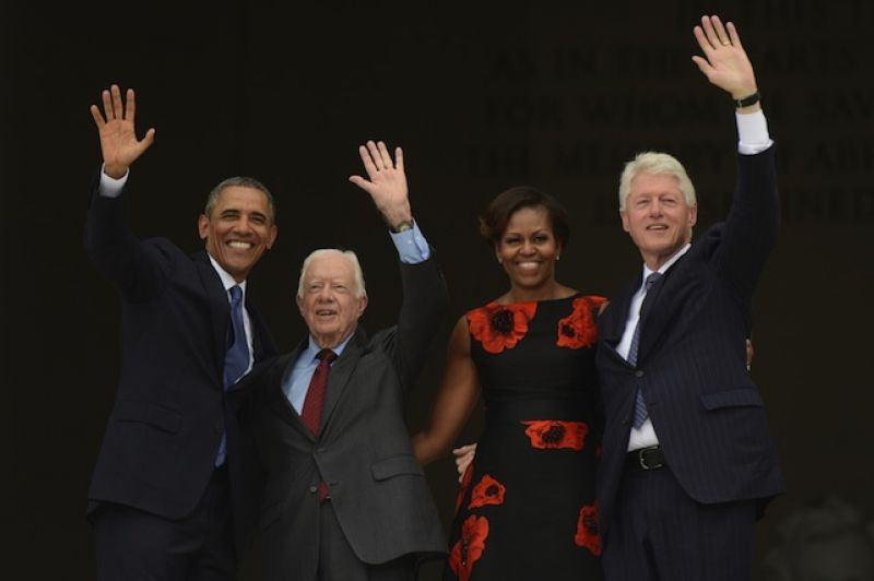 President Obama, President Carter, First Lady Michelle Obama, and President Bill Clinton