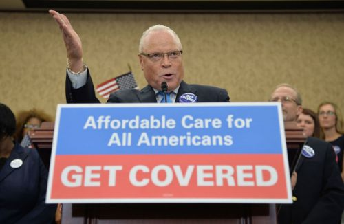 AFSCME President Lee Saunders speaks at a press conference celebrating the start of open enrollment for the Affordable Care Act, in Washington, D.C. on October 1, 2013.