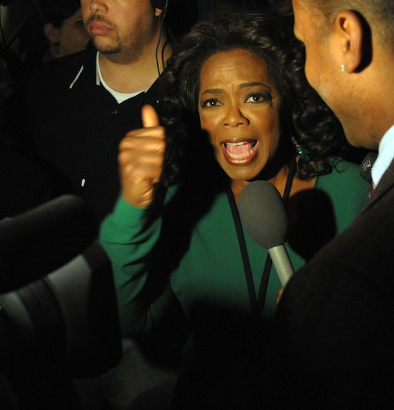 Television talk show host Oprah Winfrey speaks to reporters has she arrives for an election night rally for Democratic Presidential Nominee Sen. Barack Obama (IL) in Grant Park in Chicago on November 4, 2008.